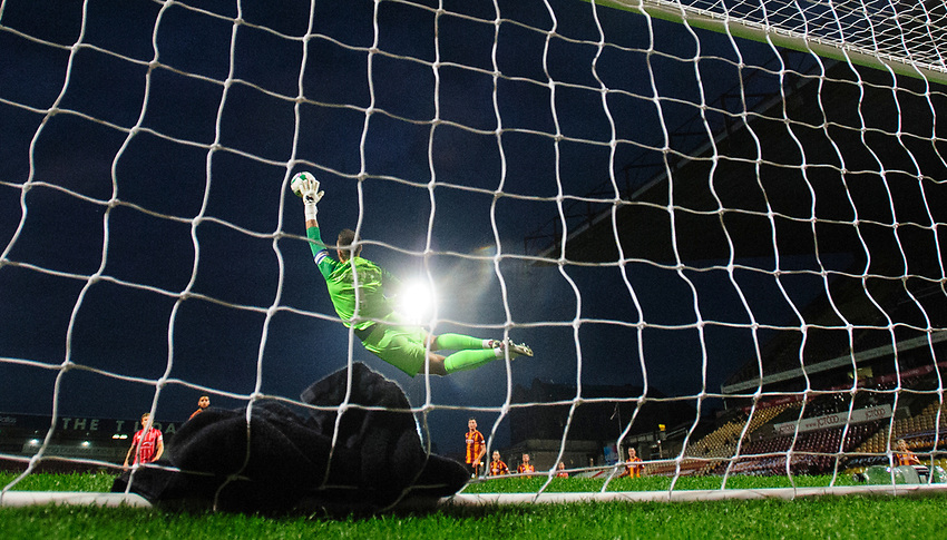 Lincoln City's James Jones scores his side's fourth goal<br /> <br /> Photographer Chris Vaughan/CameraSport<br /> <br /> Carabao Cup Second Round Northern Section - Bradford City v Lincoln City - Tuesday 15th September 2020 - Valley Parade - Bradford<br />  <br /> World Copyright © 2020 CameraSport. All rights reserved. 43 Linden Ave. Countesthorpe. Leicester. England. LE8 5PG - Tel: +44 (0) 116 277 4147 - admin@camerasport.com - www.camerasport.com