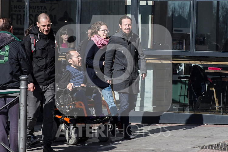 Spanish Podemos member Pablo Echenique and Pablo Iglesias after the meeting between members of the canopy of Podemos to seek unity between the different proposals in Madrid. Spain. January 25th 2017. (ALTERPHOTOS/Rodrigo Jimenez)