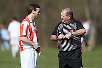 A Bancroft United FC player talks to the referee during a Hackney & Leyton Sunday League match at Hackney Marshes - 15/03/09 - MANDATORY CREDIT: Gavin Ellis/TGSPHOTO - Self billing applies where appropriate - Tel: 0845 094 6026