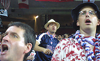 Fans of the US Men's National Soccer team react to an officials call during the USA v. Germany FIFA World Cup 2002 Quaterfinal match in Ulsan, South Korea.