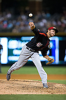 Rochester Red Wings relief pitcher Mark Hamburger (41) delivers a pitch to the plate against the Charlotte Knights at BB&T BallPark on August 8, 2015 in Charlotte, North Carolina.  The Red Wings defeated the Knights 3-0.  (Brian Westerholt/Four Seam Images)