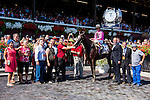 SARATOGA SPRINGS - AUGUST 27: John Velazquez, aboard Haveyougoneaway #10, poses for a photo with the connections after winning the Ballerina Stakes on Travers Stakes Day at Saratoga Race Course on August 27, 2016 in Saratoga Springs, New York. (Photo by Sue Kawczynski/Eclipse Sportswire/Getty Images)