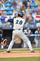 Columbia Fireflies right fielder Raphael Gladu (28) awaits a pitch during a game against the Asheville Tourists at McCormick Field on April 12, 2018 in Asheville, North Carolina. The Fireflies defeated the Tourists 7-5. (Tony Farlow/Four Seam Images)