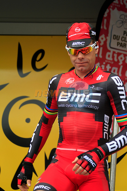Defending Champion Cadel Evans (AUS) BMC Racing Team at sign on before the start of Stage 1 of the 99th edition of the Tour de France, running 198km from Liege to Seraing starting in Parc d'Avroy Liege, Belgium. 1st July 2012.<br /> (Photo by Eoin Clarke/NEWSFILE)