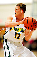 30 January 2010: University of Vermont Catamount guard Nick Vier, a Senior from Franklin Lakes, NJ, in action against the University at Albany Great Danes at Patrick Gymnasium in Burlington, Vermont. The Catamounts defeated the Danes 64-46 in the America East matchup. Mandatory Credit: Ed Wolfstein Photo