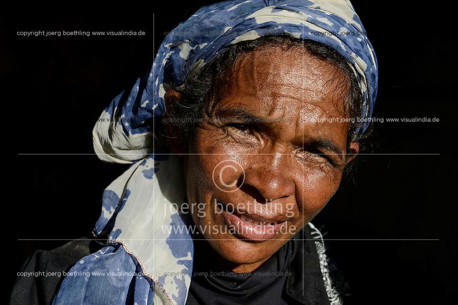 MADAGASCAR Antananarivo, homeless family , portraiture of homeless woman