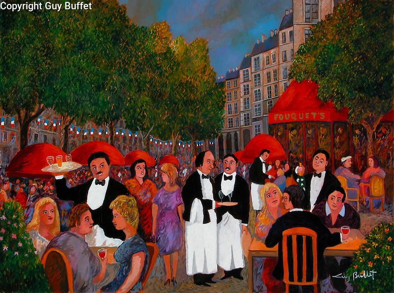"""""""Bastille Day on the Champs Elysees"""" Paris<br /> Limited Edition Giclee 20x26.5<br /> SN Canvas $850.<br /> AP Paper w/Original Watercolor Remarque $1,975.<br /> Classic French Guy Buffet waiters draw you right into the street cafe, with the famous """"Fouquets"""" restaurant on the corner!"""