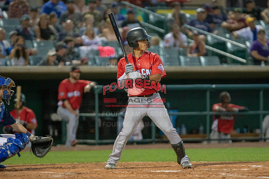 Bryson Brigman (8) of the Modesto Nuts at bat against the South Division during the 2018 California League All-Star Game at The Hangar on June 19, 2018 in Lancaster, California. The North All-Stars defeated the South All-Stars 8-1.  (Donn Parris/Four Seam Images)