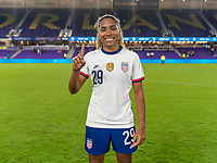 ORLANDO, FL - JANUARY 18: Catarina Macario #29 of the USWNT celebrates her first cap after a game between Colombia and USWNT at Exploria Stadium on January 18, 2021 in Orlando, Florida.