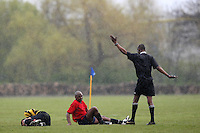 The match referee awards a free-kick during a Hackney & Leyton Sunday League match between Mile End (red) and Wentworth Arms at Hackney Marshes - 13/04/08 - MANDATORY CREDIT: Gavin Ellis/TGSPHOTO - Self billing applies where appropriate - Tel: 0845 094 6026