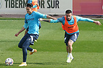 Getafe CF's Enes Unal (l) and Erick Cabaco during training session. February 17, 2021.(ALTERPHOTOS/Acero)
