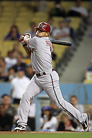 Arizona Diamondbacks outfielder Gerardo Parra #8 bats against the Los Angeles Dodgers at Dodger Stadium on September 13, 2011 in Los Angeles,California. Arizona defeated Los Angeles 5-4.(Larry Goren/Four Seam Images)