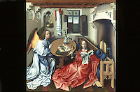 """Paintings:  Robert Campin--Merode Altarpiece, """"Annunciation to the Virgin"""", center panel, c. 1425.  Met. Museum of Art, Cloisters.  Reference only."""
