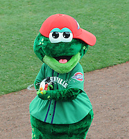 May 17, 2009: Greenville Drive mascot Reedy Rip'It squirts water on an already wet crowd during a rain delay prior to a scheduled game between the Drive and Rome Braves at Fluor Field at the West End in Greenville, S.C. The game eventually was postponed. Photo by: Tom Priddy/Four Seam Images