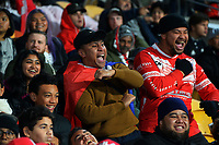 Fans in the grandstand during the Steinlager Series rugby match between the New Zealand All Blacks and Tonga at Mt Smart Stadium in Auckland, New Zealand on Saturday, 3 July 2021. Photo: Dave Lintott / lintottphoto.co.nz
