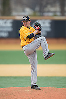 Towson Tigers relief pitcher David Marriggi (16) in action against the Wake Forest Demon Deacons at Wake Forest Baseball Park on March 1, 2015 in Winston-Salem, North Carolina.  The Demon Deacons defeated the Tigers 15-8.  (Brian Westerholt/Four Seam Images)