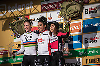 podium U23 Women World Cup Classification:<br /> <br /> 1st place - Ceylin Del Carmen Alvarado (NED/Alpecin Fenix)<br /> 2nd place - Inge Van der Heijden (NED/CCC-Liv)<br /> 3th place - Anna Kay (GBR/experza-footlogix)<br /> <br /> UCI Cyclocross Worldcup – Hoogerheide (Netherlands)<br /> ©kramon