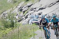 Romain Bardet (FRA/AG2R-La Mondiale) & Jakob Fuglsang (DEN/Astana) descending the Col de la Colombière<br /> <br /> 69th Critérium du Dauphiné 2017<br /> Stage 8: Albertville > Plateau de Solaison (115km)