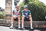 UAE Team Emirates and Deceuninck-Quick Step riders relax before the start of Stage 2 of La Vuelta d'Espana 2021, running 166.7km from Caleruega. VIII Centenario de Santo Domingo de Guzmán to Burgos. Gamonal, Spain. 15th August 2021.    <br /> Picture: Unipublic/Charly Lopez   Cyclefile<br /> <br /> All photos usage must carry mandatory copyright credit (© Cyclefile   Unipublic/Charly Lopez)