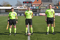 referee Caroline Lanssens with assistant referee Ella De Vries (L) and Timmy Vande Velde (R)  pictured during a female soccer game between SV Zulte - Waregem and Eendracht Aalst on the 17 th matchday of the 2020 - 2021 season of Belgian Scooore Womens Super League , saturday 20 th of March 2021  in Zulte , Belgium . PHOTO SPORTPIX.BE | SPP | DIRK VUYLSTEKE