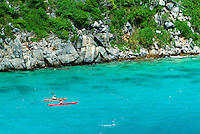Aerial view of kayakers.Lovango Cay.US Virgin Islands
