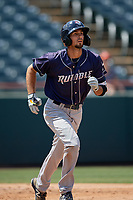 Binghamton Rumble Ponies Jacob Zanon (24) runs to first base during an Eastern League game against the Bowie Baysox on August 21, 2019 at Prince George's Stadium in Bowie, Maryland.  Bowie defeated Binghamton 7-6 in ten innings.  (Mike Janes/Four Seam Images)
