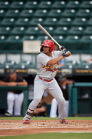 Palm Beach Cardinals Nick Plummer (21) at bat during a Florida State League game against the Bradenton Marauders on May 10, 2019 at LECOM Park in Bradenton, Florida.  Bradenton defeated Palm Beach 5-1.  (Mike Janes/Four Seam Images)