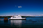 British Columbia ferry leaves Port McNeil on Vancouver Island, near famous Telegraph Cove.