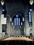 East Liberty PA:  View of the interior of the East Liberty Presbyterian Church.  Brady Stewart Jr and Carmen Sabatasso photographed the interior and exterior of the church in 1976. View of the Stained Glass in the West Transept.