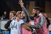 SAN JOSE, CA - MAY 15: Marvin Loria #44 of the Portland Timbers celebrates his goal with Diego Valeri #8 and Zac McGraw #85 of the Portland Timbers during a game between San Jose Earthquakes and Portland Timbers at PayPal Park on May 15, 2021 in San Jose, California.