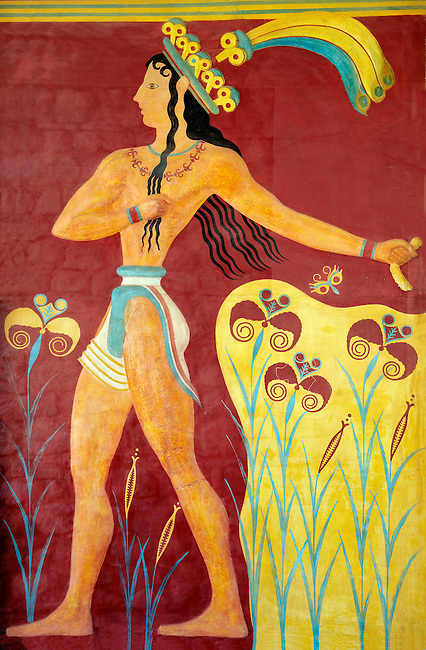 """""""Prince of lilies"""" or """"Priest-king Relief"""", plaster relief at the end of the Corridor of Processions, restored by Gilliéron, Knossos Minoan archaeological site"""