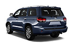 Car pictures of rear three quarter view of a 2018 Toyota Sequoia Limited Auto 5 Door SUV angular rear