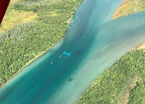 An aerial view of the RivGen device operating in the Kvichak River, in Alaska in August 2019