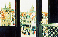 Paintings:  Robert Campin--Flemish City, circa 1425.  Campin worked in Tournai from 1423 on.  Photo '91.