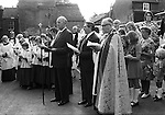 Wirksworth Derbyshire St Marys Church Clipping   September 1973. Service in village centre before the Clypping ceremony. 19/615 1973/