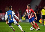 Filipe Luis (R) of Atletico de Madrid vies for the ball with Unai Bustinza, Bustinza M, of CD Leganes during the La Liga 2017-18 match between Atletico de Madrid and CD Leganes at Wanda Metropolitano on February 28 2018 in Madrid, Spain. Photo by Diego Souto / Power Sport Images