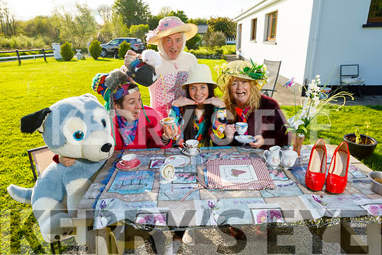 The Fleming family hosting the Mad Hatter tea party as they are Doing It For Dan at their home on Monday.<br /> L to r: Tadgh, Mary Ann, Derry and Maureen Fleming