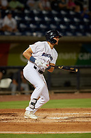 Pensacola Blue Wahoos Trevor Larnach (9) at bat during a Southern League game against the Mobile BayBears on July 25, 2019 at Hank Aaron Stadium in Pensacola, Florida.  Pensacola defeated Mobile 3-2 in the second game of a doubleheader.  (Mike Janes/Four Seam Images)