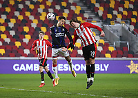 9th January 2021; Brentford Community Stadium, London, England; English FA Cup Football, Brentford FC versus Middlesbrough; Mads Bech Sorensen of Brentford wins the header from Marcus Tavernier of Middlesbrough