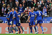 Leonardo Ulloa of Leicester City celebrates scoring his sides second goal during the Barclays Premier League match between Leicester City and Swansea City played at The King Power Stadium, Leicester on April 24th 2016
