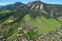 Chautauqua park and Flatirons. Boulder, Colorado aerial. May 2013  88021