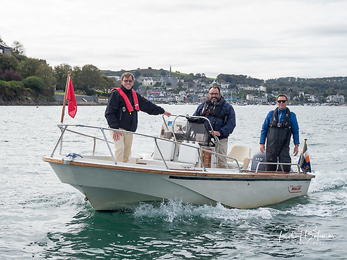 Royal Cork Admiral Colin Morehead's (helming) Boston Whaler runabout that he uses to travel across Cork Harbour from Whitepoint (near Cobh) to the club at Crosshaven Photo: Bob Bateman