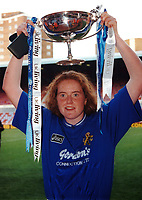 Pru Buckley of Millwall lifts the Cup during Millwall Lionesses vs Wembley, FA Women's Cup Final Football at the New Den, Millwall FC on 4th May 1997