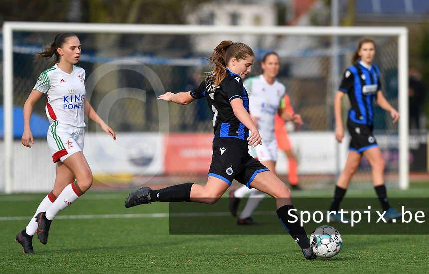 Raquel Viaene (5 Brugge) pictured during a female soccer game between Club Brugge Dames YLA and Oud Heverlee Leuven on the 8 th matchday of the 2020 - 2021 season of Belgian Scooore Womens Super League , saturday 21 th November 2020  in Knokke , Belgium . PHOTO SPORTPIX.BE | SPP | DAVID CATRY