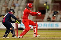 9th July 2021; Emirates Old Trafford, Manchester, Lancashire, England; T20 Vitality Blast Cricket, Lancashire Lightning versus Northamptonshire Steelbacks; An aggressive 66 from Finn Allen put Lancashire Lightning Lightning in a strong position as he and Keaton Jennings put on 112 for the first wicket