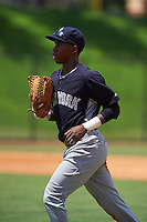 GCL Yankees 1 outfielder Terrance Robertson (81) jogs to the dugout during the first game of a doubleheader against the GCL Tigers on August 5, 2015 at Tigertown in Lakeland, Florida.  GCL Tigers derated the GCL Yankees 5-2.  (Mike Janes/Four Seam Images)