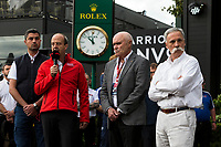 13th March 2020; Melbourne Grand Prix Circuit, Melbourne, Victoria, Australia; Formula One, Australian Grand Prix, Practice Day; Andrew Westacott, Paul Little, Michael Masi, Chase Carey talks to the media about the cancellation of the Grand Prix  due to one of the Renault crew being tested positive for the Corona Virus
