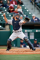 Scranton/Wilkes-Barre RailRiders catcher Erik Kratz (36) throws to second base during a game against the Buffalo Bisons on May 18, 2018 at Coca-Cola Field in Buffalo, New York.  Buffalo defeated Scranton 5-1.  (Mike Janes/Four Seam Images)