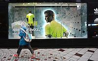 David Beckham on an advert for Adidas,  Shibuya, Tokyo Japan. <br /> April-2014