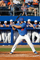 University of Florida Gators outfielder Nick Horvath (26) at bat during a game against the Siena Saints at Alfred A. McKethan Stadium in Gainesville, Florida on February 17, 2018. Florida defeated Siena 10-2. (Robert Gurganus/Four Seam Images)